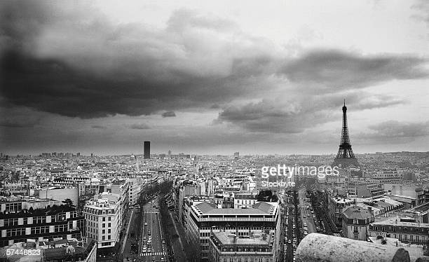 black and white aerial view of an overcast sky above the Eiffel tower