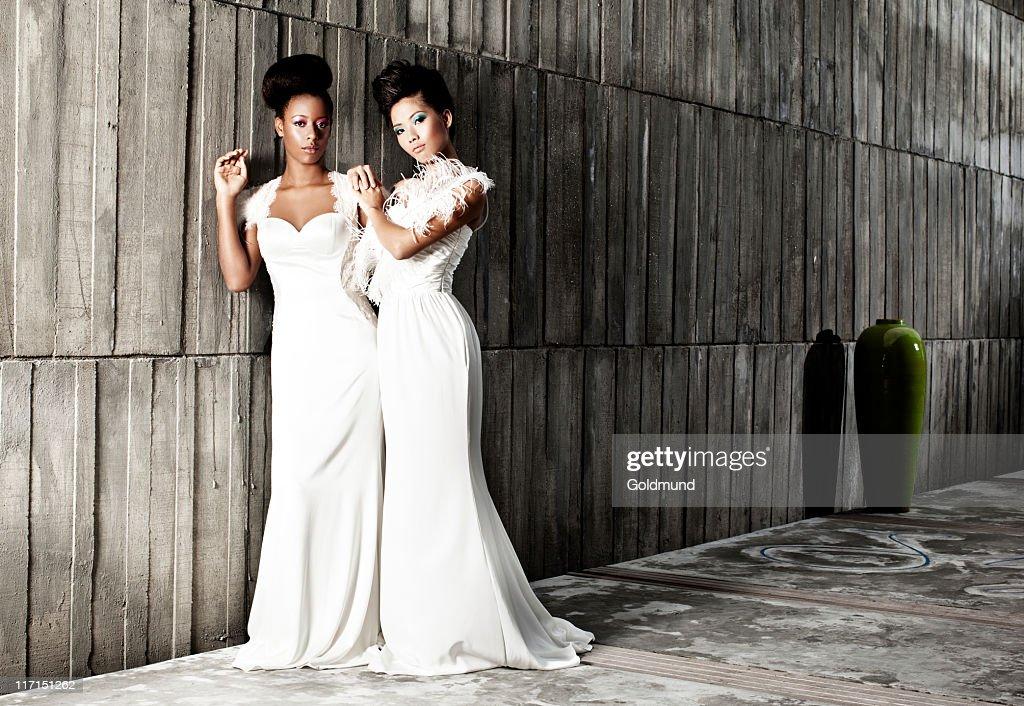 Black and White Bride : Stock Photo