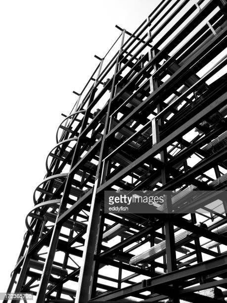 Black and white building under construction