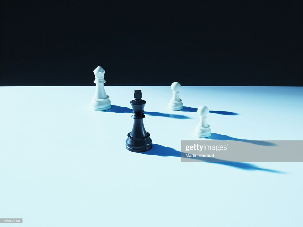 Black and white chess pieces : Stock Photo