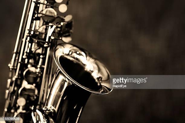 Black und white Nahaufnahme des Altsaxophon