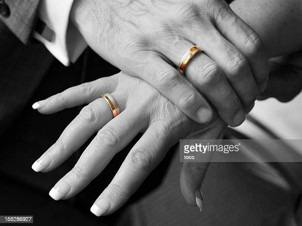 Black and White, Close-up - Hands with Golden wedding rings
