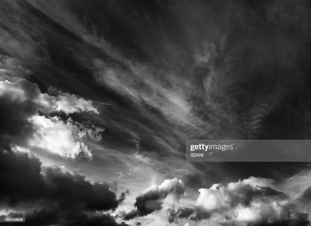 Black and white cloudscape background : Stock Photo