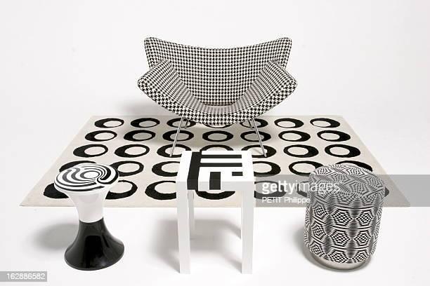Black And White Decoration Of Op Art Le 'Op art' ou l'art optique hérité des années 1960 revient décorer la maison tapis à pastilles Christophe...