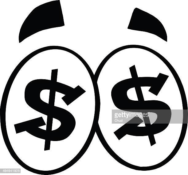 Black and White Dollar Sign Cartoon Eyes