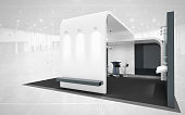 black and white exhibition stand
