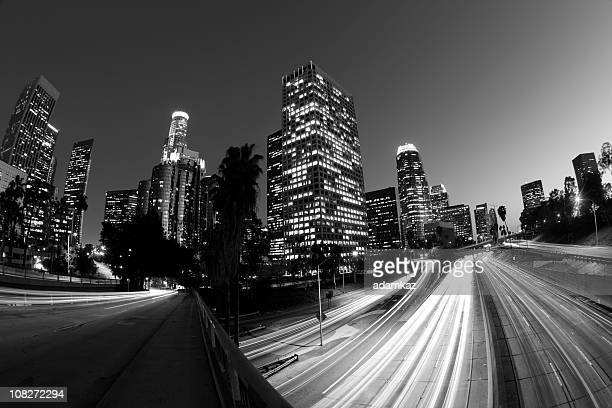 Black and White Fisheye Motion Blur of Los Angeles