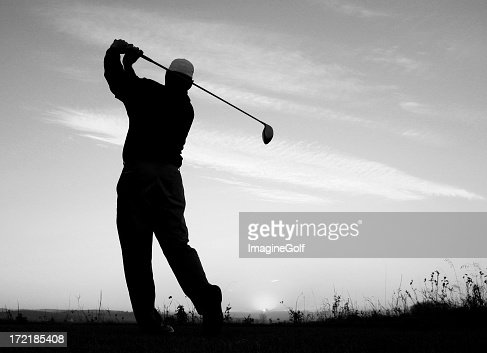 Black and White Golf Image of Athletic Golfer Posing