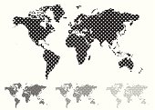 Black and white halftone map of the world with different tint values