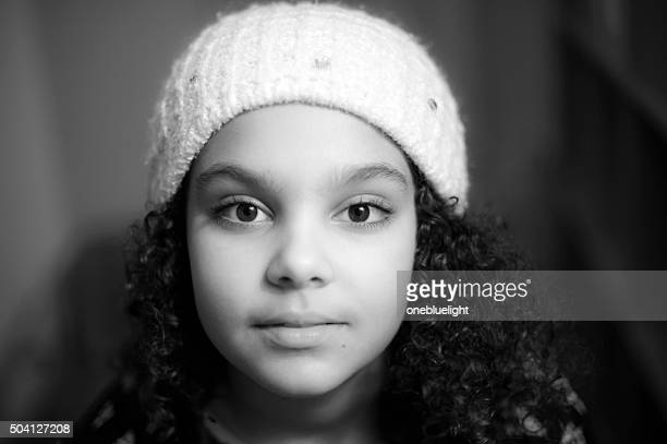 Black and White Headshot of 9 Years Old Girl