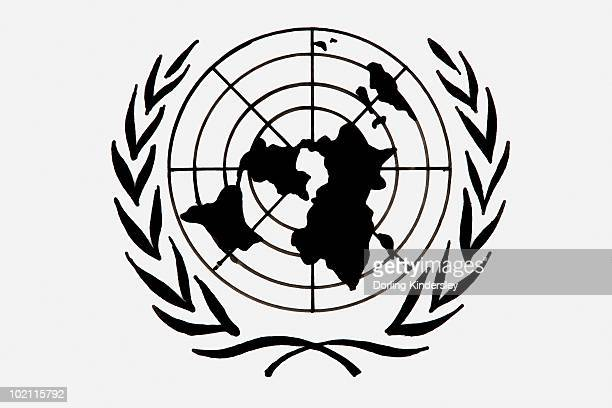 Black and white illustration of United Nations symbol