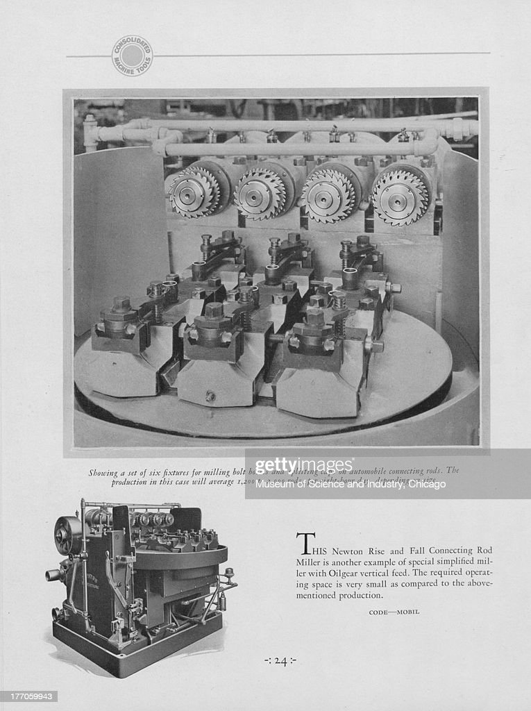 A black and white illustration showing an image of a Newton Rise And Fall Connecting Rod Miller which is an example of a special simplified miller...