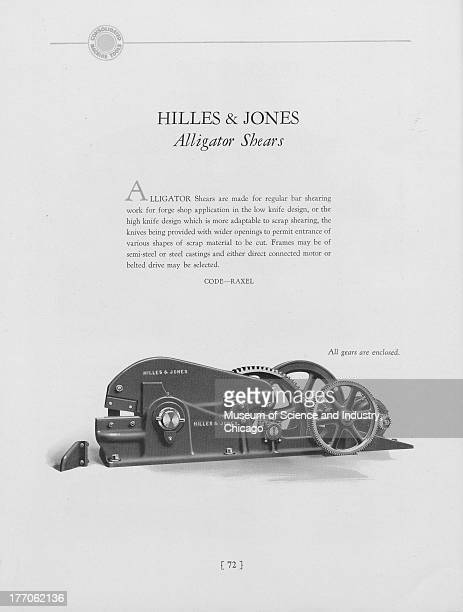A black and white illustration showing image of a Hilles And Jones Alligator Shears 1930