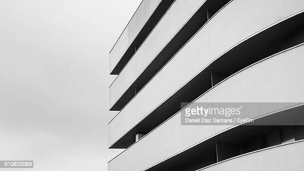 Black and white image of a building exterior
