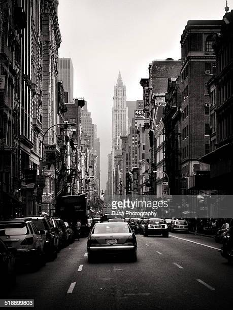 Black and white image of a vintage car in Broadway
