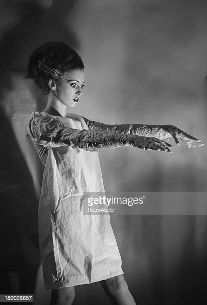 Black and white image of the bride of Frankenstein