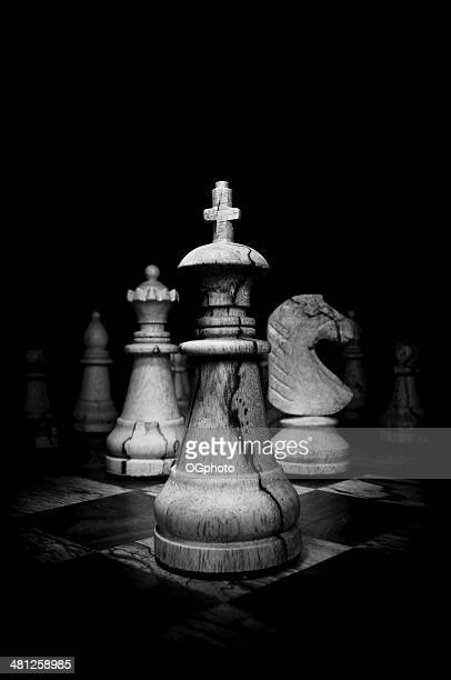 Black and White image of wooden chess pieces
