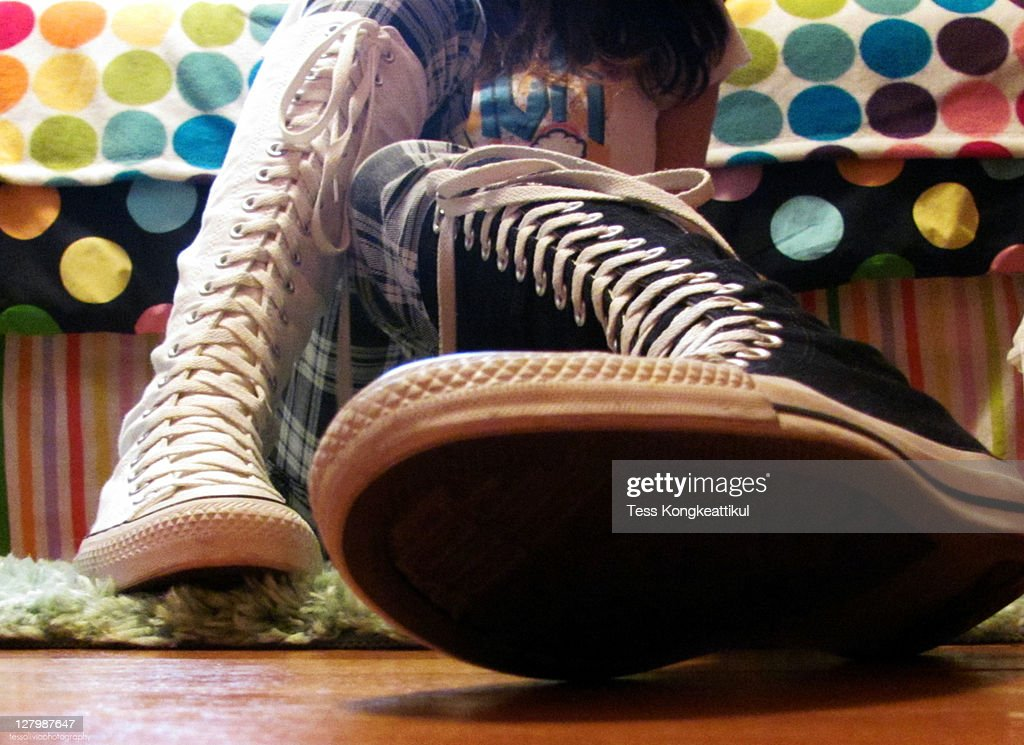 Black and white knee shoes : Stock Photo