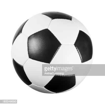 Black and white leather football on white background
