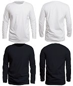 Blank long sleve shirt mock up template, front view, isolated on white, plain black and white t-shirt mockup. Long sleeved tee design presentation for print.