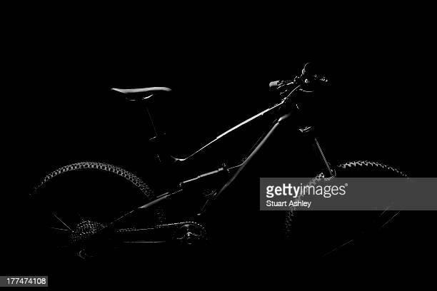 Black and white mountain bike in studio