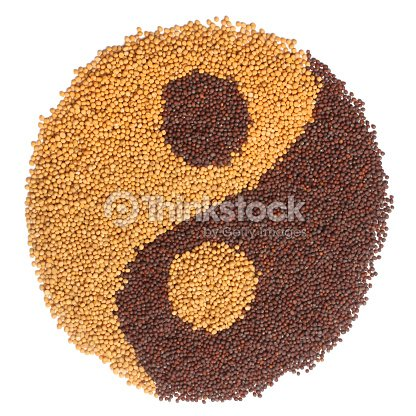 Black And White Mustard Seeds Forming A Yin Yang Symbol Stock Photo