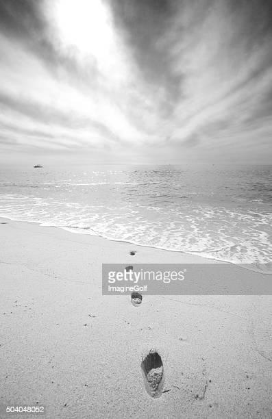 Noir et blanc de traces sur la plage
