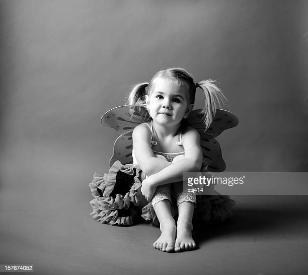 Black and White of Girl In Butterfly Wings with Tutu