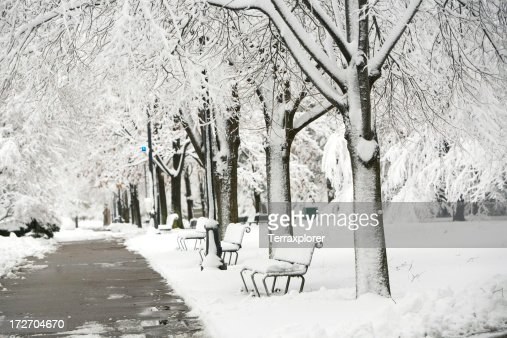 Black and white photo of a snow covered park