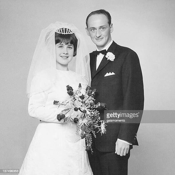 Black and white photo of couple at their wedding day