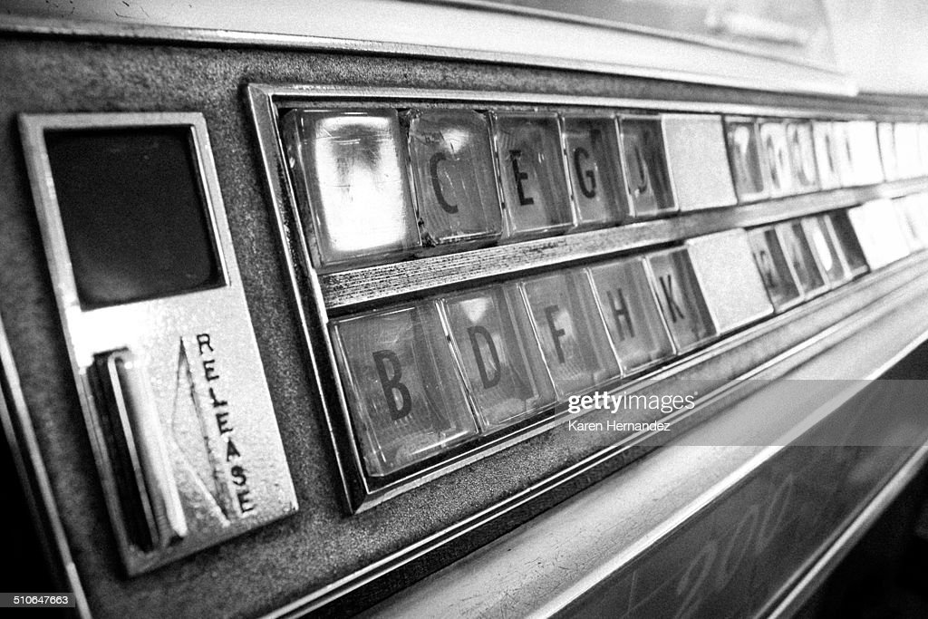Black and white photo of jukebox