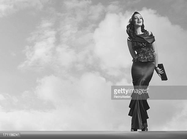 Black and white photo of old Hollywood style elegant woman