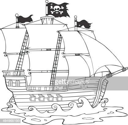 Black and White Pirate Ship Sailing