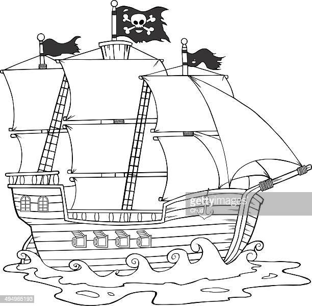 Black and White Pirate Ship Sailing