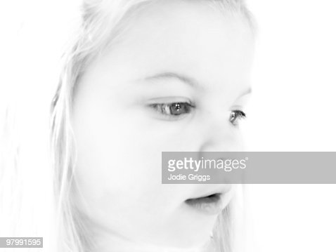 Black and White Portrait of a Young Girl