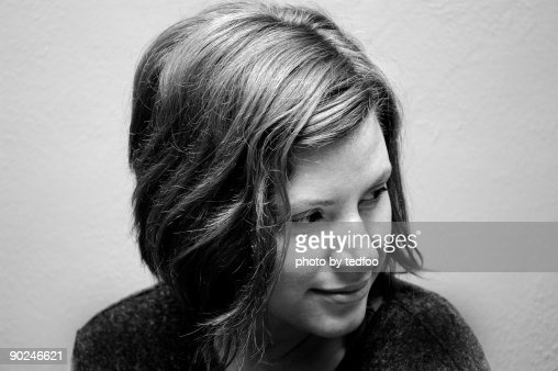 Black and white portrait of a young woman : Stock Photo