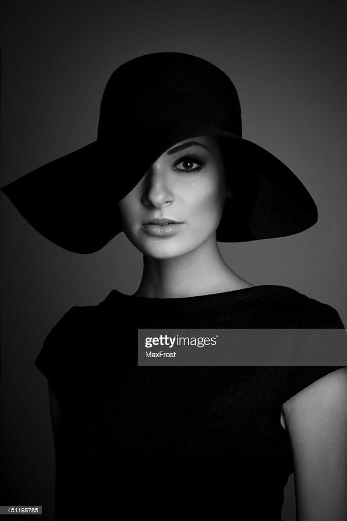 black and white portrait of elegant woman : Stock Photo