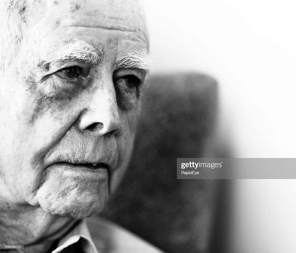 Retirement Colonies Senior Citizens Find A Home Away From: Black And White Portrait Of Serious 87 Year Old Man Stock