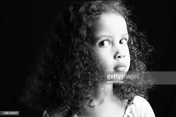 Black and White Portrait of Young Girl with Curly Hair