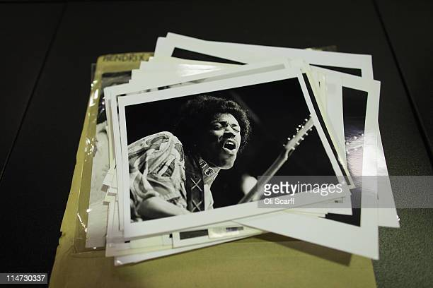 Black and white prints of Jimi Hendrix are laid out from the vast collection of historic photographs stored in the Hulton Archive on May 13 2011 in...