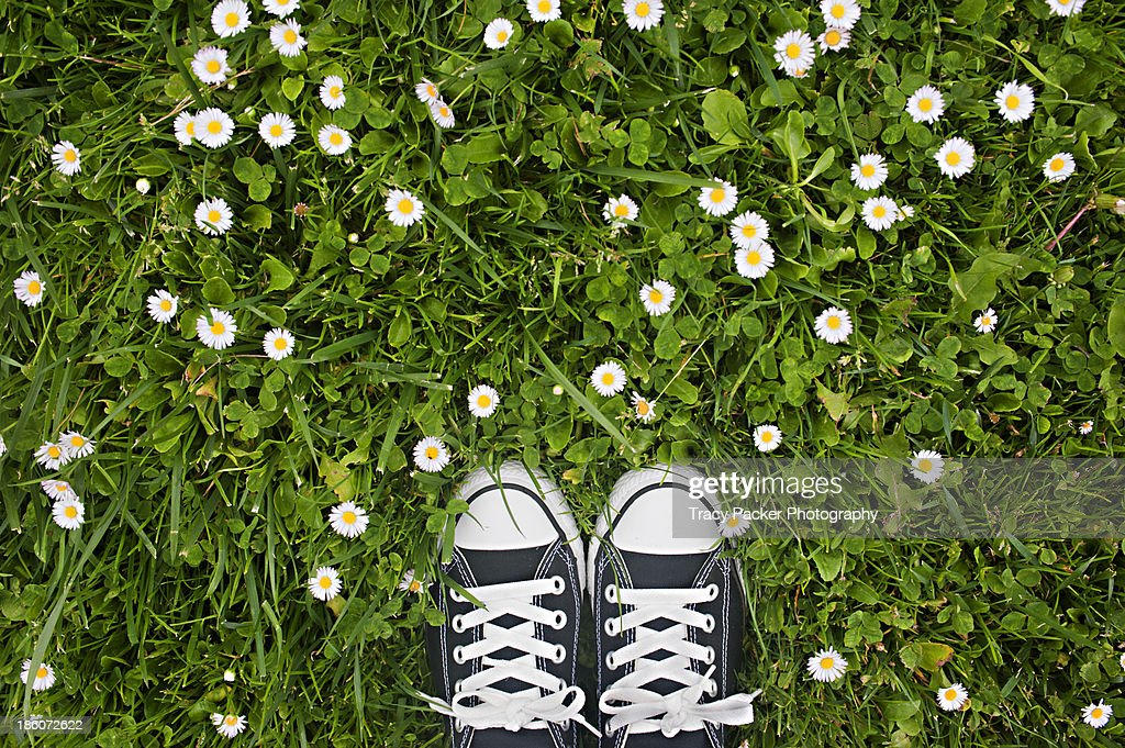 Black and white shoes on a grassy background