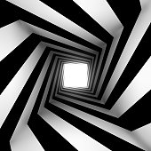 black and white square spiral with glow at the end