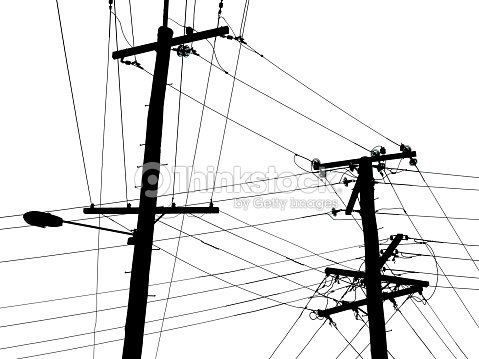 Black And White Telephone Poles And Wires Stock Photo