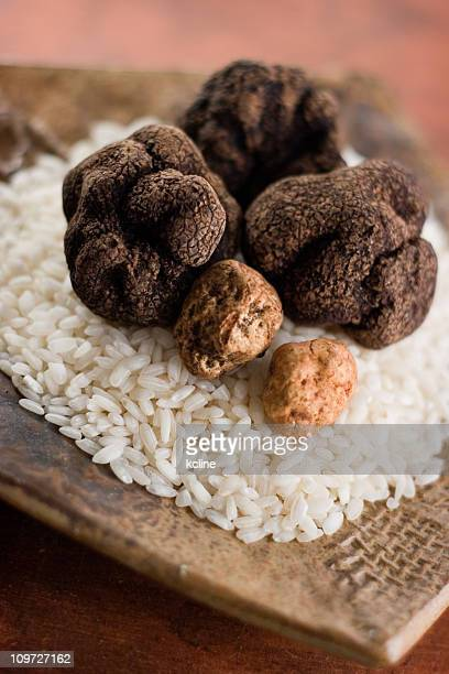Bianco e nero di tartufi al cioccolato con riso