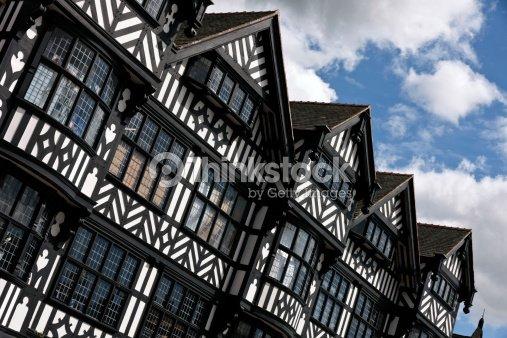 Black And White Tudor Architecture In Chester Stock Photo