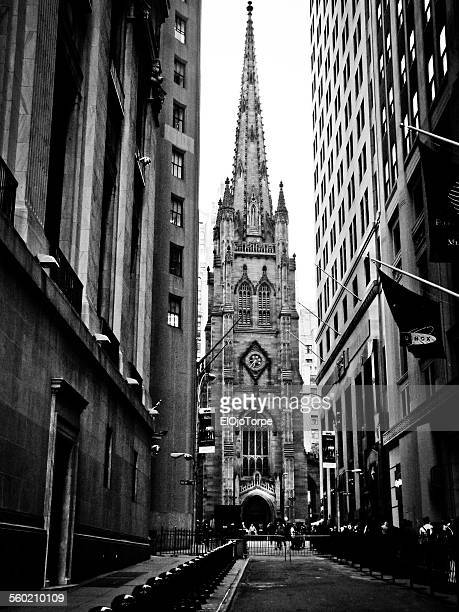 Black and white view of Trinity Church, New York