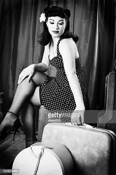 Black and white vintage pin-up model