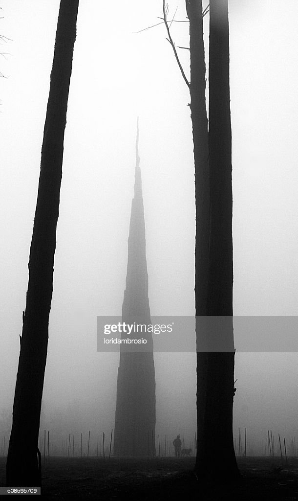 Black and white/the spire/a man and his dog : Foto de stock