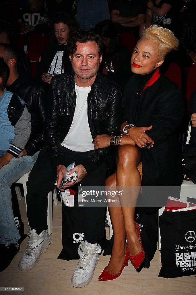 Black Angus and Connie Mitchell attend the General Pants show during MercedesBenz Fashion Festival Sydney 2013 at Sydney Town Hall on August 21 2013...