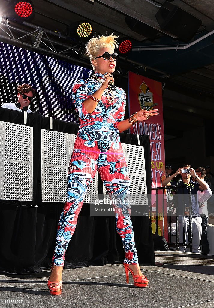 Black Angus and Connie Mitchell of Sneaky Sound Machine keeps perform during game five of the Commonwealth Bank International Series between Australia and the West Indies at Melbourne Cricket Ground on February 10, 2013 in Melbourne, Australia.